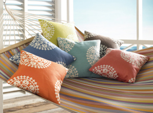 Outdoor fabric for indoor style sourced by National Drapery - Kravet Soleil's Windsor Smith Tahitian Holiday collection