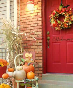 front door wreath, fall colour